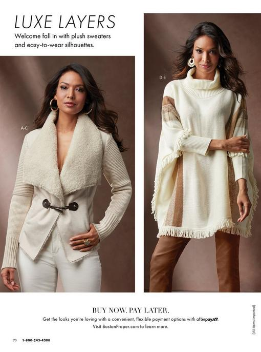 left model wearing a sherpa lined sweater jacket, white jeans, and gold hoop earrings. right model wearing an ivory fringed sweater poncho, brown coated skinny jeans, and jeweled hoops.
