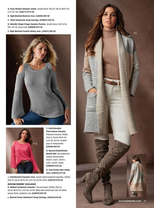 left model wearing a flare-sleeve gray cold-shoulder sweater and jeans with silver hoop earrings. bottom left model wearing the same sweater in pink with a jeweled belt and jeans. right model wearing a gray colorblocked sweater coat, brown ribbed turtleneck sweater, white jeans, jeweled earrings, and brown over-the-knee boots.