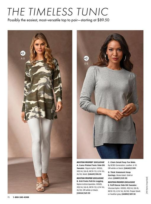 left model wearing a camouflage print long-sleeve tunic, white jeans, and tan mule heels. right model wearing a gray puff-sleeve side-slit sweater and silver hoop earrings.