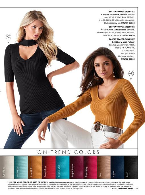 left model wearing a black mock-neck cutout short sleeve top and jeans. right model wearing a gold ribbed v-neck sweater, white jeans, and a jeweled belt.