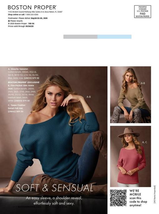 left model wearing an off-the-shoulder navy sweater, jeans, and brown over-the-knee boots. top right model wearing the same sweater in tan, jeans, and snakeskin print over-the-knee boots. bottom right model wearing the same sweater in pink, brown hat, and white jeans.