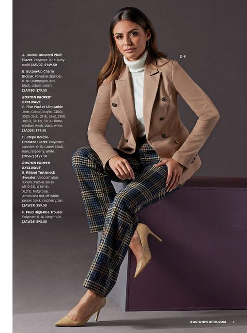 model wearing a tan double-breasted blazer, white ribbed turtleneck sweater, navy plaid trousers, and nude pumps.