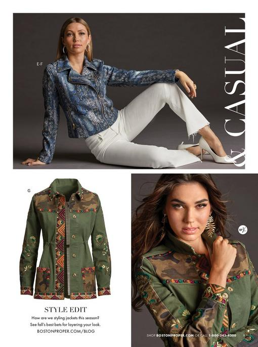 top model wearing a blue foil snakeskin print moto jacket, gold hoop earrings, white bootcut jeans, and white pumps. bottom model wearing an army green utility jacket with multicolored embroidery and gold leaf earrings.