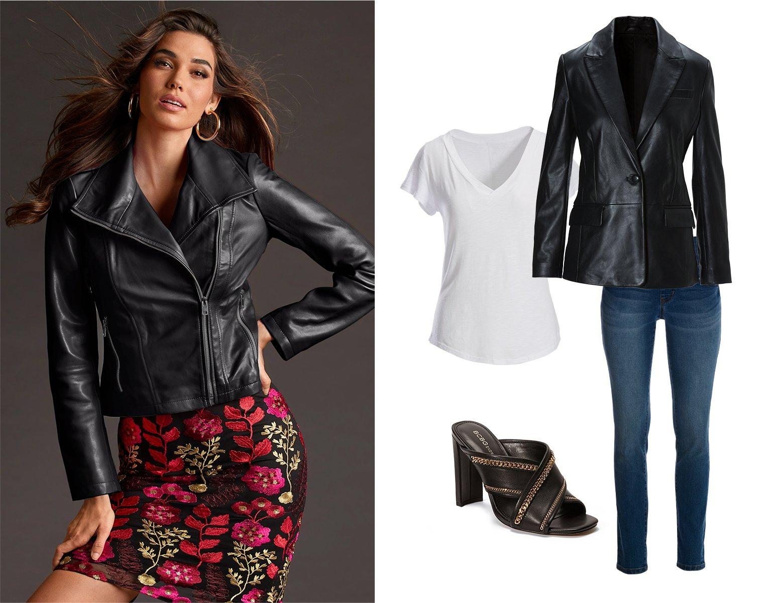 left model wearing a black leather collared jacket over a black floral embroidered sheath dress and gold hoop earrings. right panel shows a black single-button leather blazer, white tee shirt, jeans, and black peep-toe mule heels.