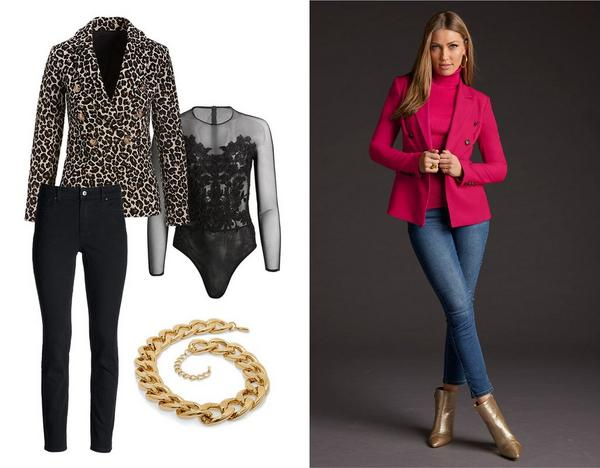 left panel shows a leopard print double-breasted blazer, black jeans, black lace and mesh bodysuit, and a thick gold chain necklace. right model wearing a pink double-breasted blazer, pink ribbed turtleneck sweater, jeans, and gold pointed toe croc booties.