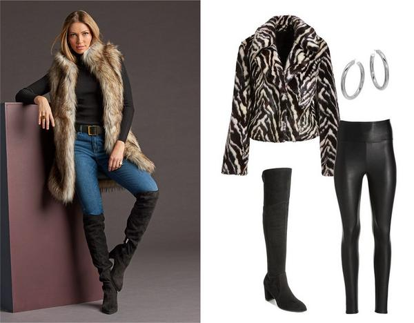 left model wearing a long faux-fur vest, black turtleneck sweater, jeans, and black over-the-knee boots. right panel shows a zebra faux-fur chubby jacket, black over-the-knee boots, silver hoop earrings, and black faux leather leggings.