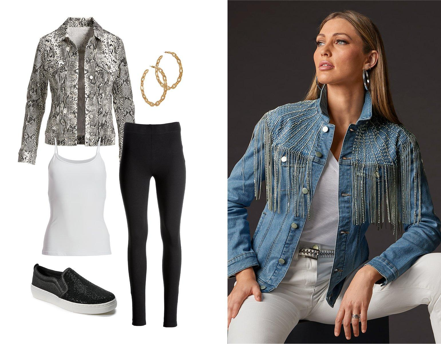 left panel shows a black and white snakeskin print jacket, white camisole, black leggings, black rhinestone embellished slip-on sneakers, and gold hoop earrings. right model wearing a rhinestone fringe denim jacket, white v-neck tee shirt, silver hoop earrings, and white jeans.