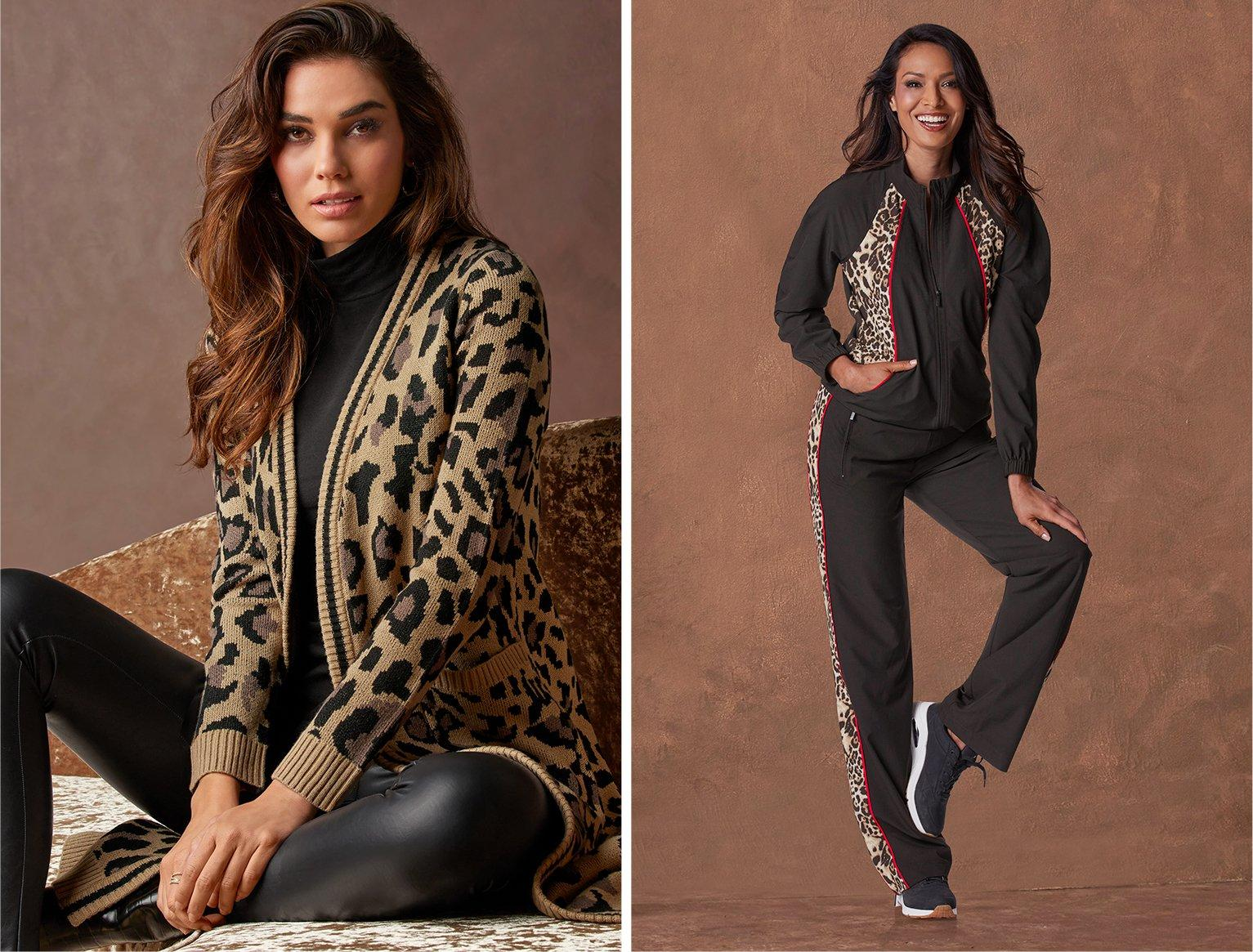 left model wearing a brown and black animal print long sweater duster, black turtleneck top, and black leather leggings. right model wearing a black and animal print sport warm-up and black sneakers.