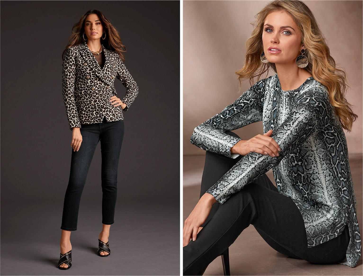 left model wearing a leopard print double-breasted blazer, black mesh bodysuit, black jeans, and black heeled peep-toe mules. right model wearing a black and white snakeskin print tunic sweater and black pants.