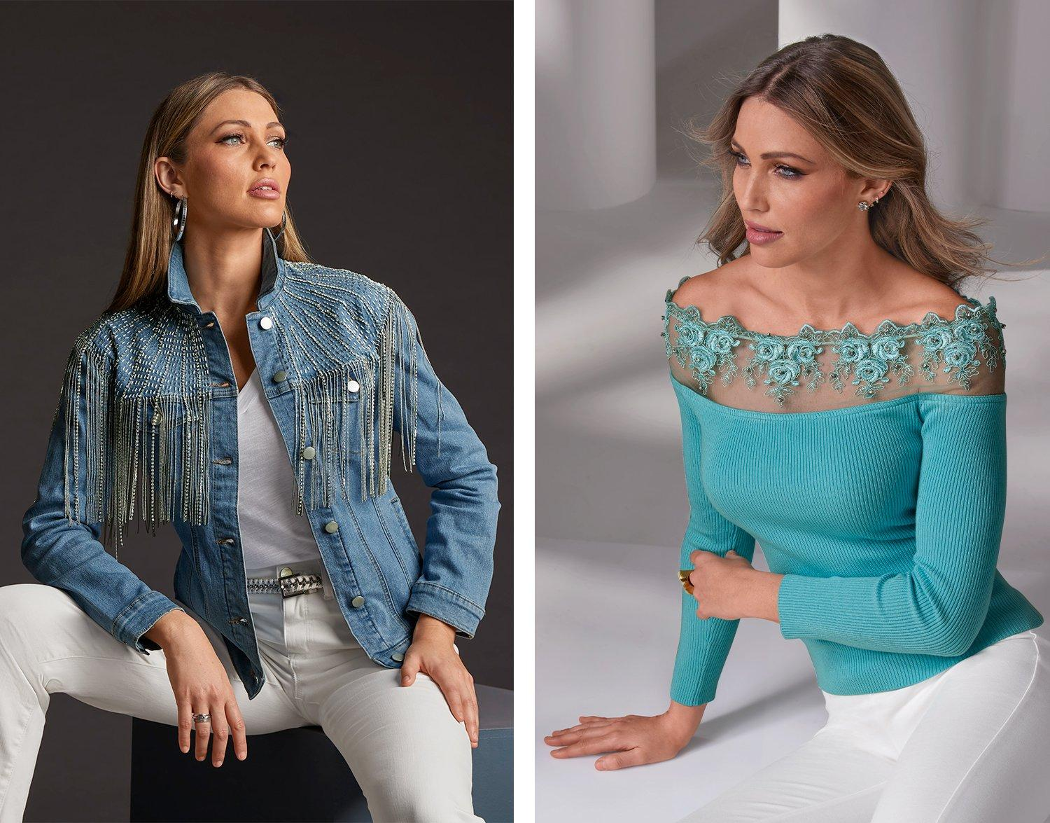left model wearing a denim jacket embellished with rhinestone fringe, white v-neck tee, white jeans, and silver hoop earrings. right model wearing a blue illusion lace off-the-shoulder sweater and white pants.
