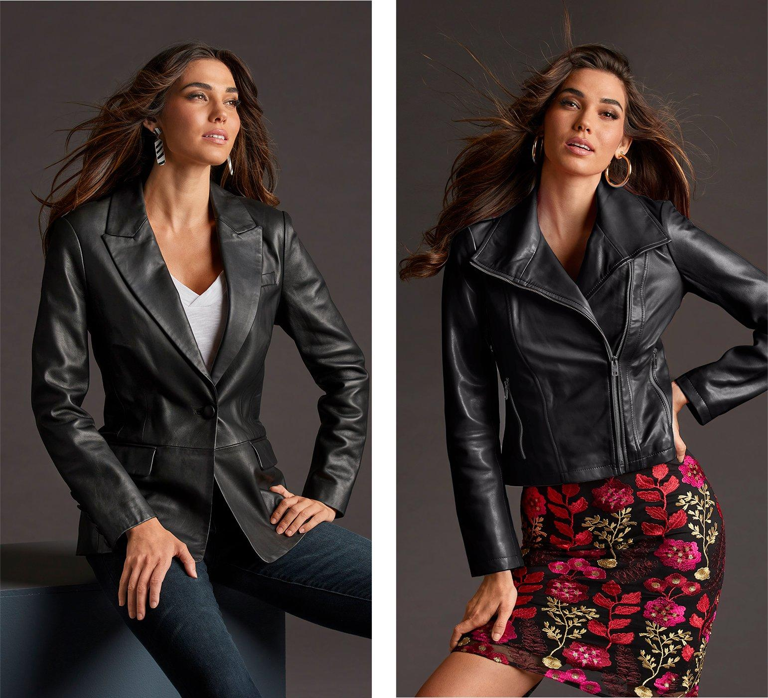 left model wearing a single-button black leather jacket, white v-neck tee, and jeans. right model wearing a collared black leather moto jacket, floral embroidered black mesh dress, and gold hoop earrings.