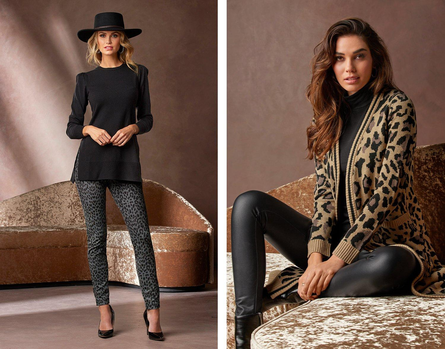 left model wearing a black tunic sweater, gray leopard print leggings, black hat, and black pumps. right model wearing a brown and black leopard print sweater duster, black turtleneck top, and black leather leggings.