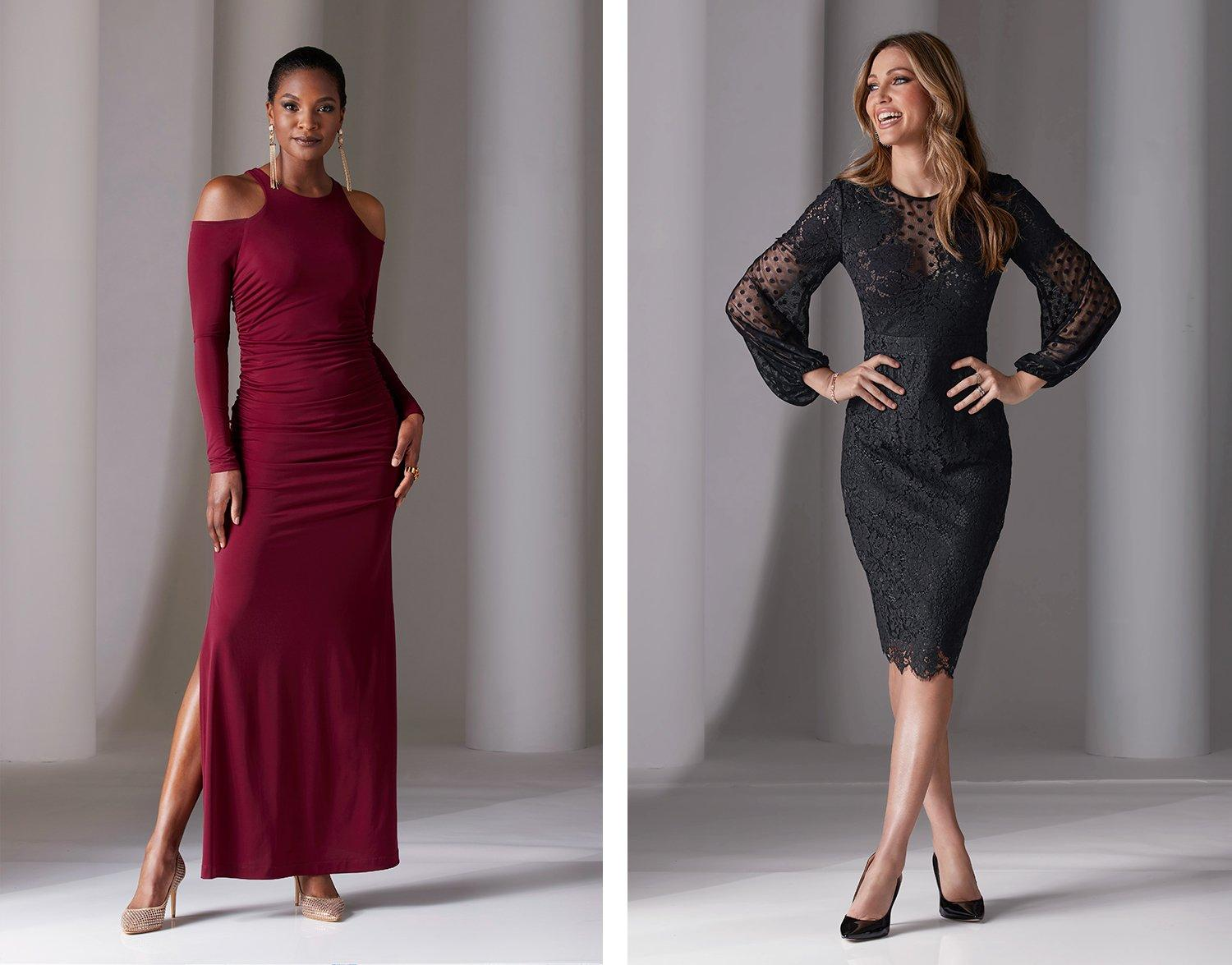left model wearing a wine colored cold-shoulder long-sleeve side slit gown, gold earrings, and diamante pumps. right model wearing a black lace and swiss dot long-sleeve sheath dress and black pumps.