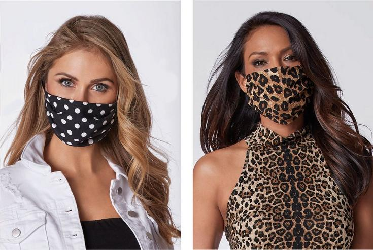 left model wearing a black and white polka dot face mask, black tank top, and white denim jacket. right model wearing a brown and black leopard print face mask with a leopard print sleeveless mock-neck top.