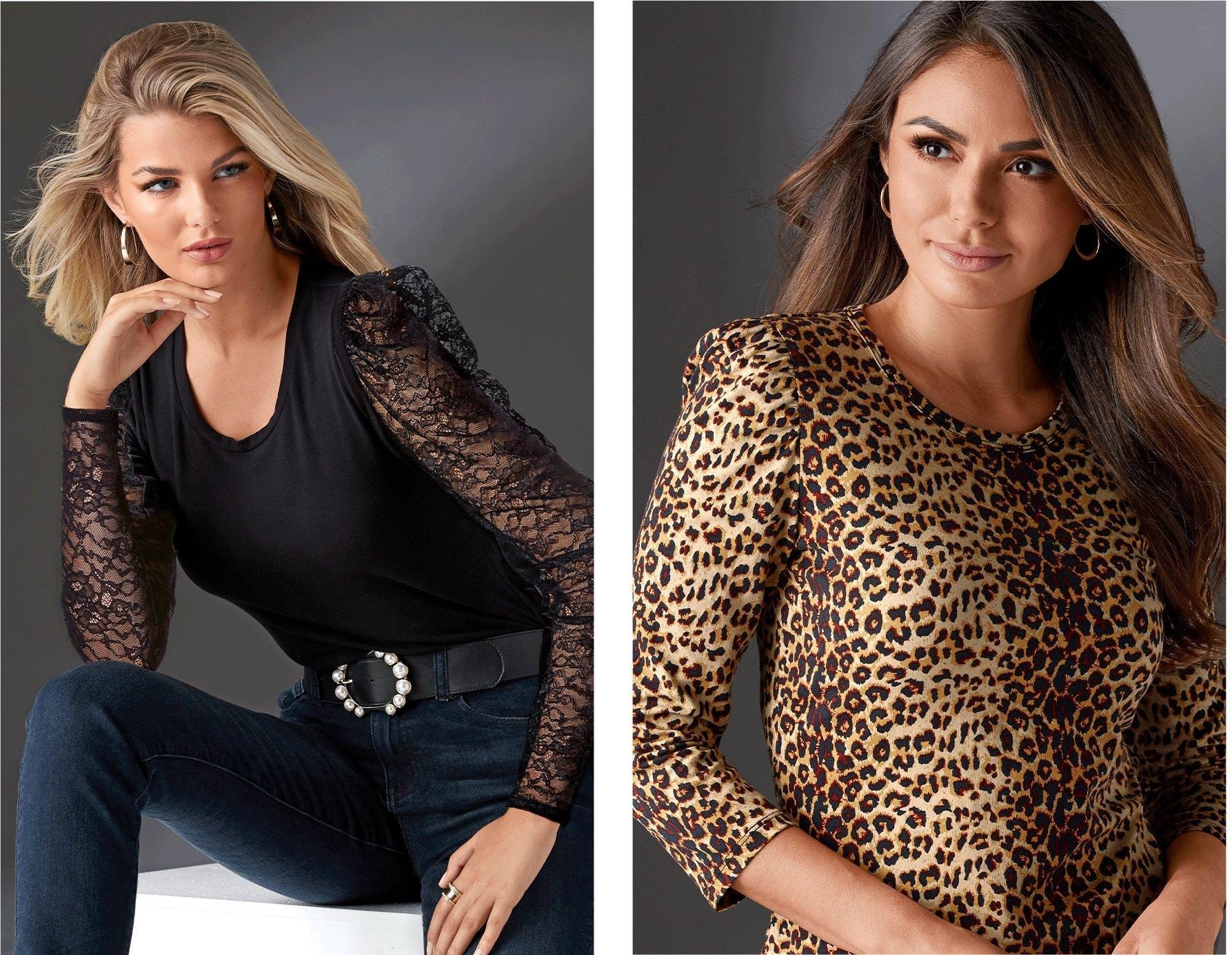 left model wearing a black puff-sleeve lace long-sleeve top, pearl embellished black belt, silver hoop earrings, and jeans. right model wearing a leopard print puff-sleeve three-quarter sleeve tee.