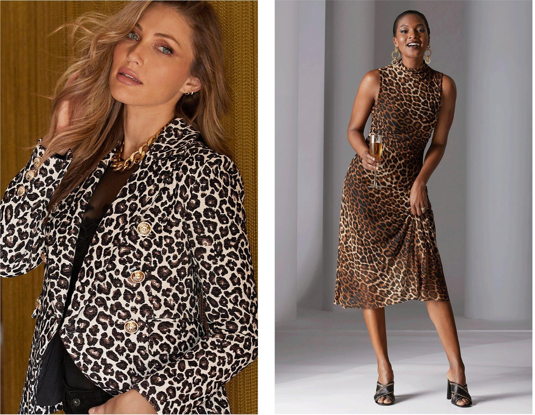 left model wearing a leopard print double-breasted blazer, black mesh and lace body suit, and a thick gold chain necklace. right model wearing a mock-neck sleeveless leopard print midi dress with black peep-toe mule heels.