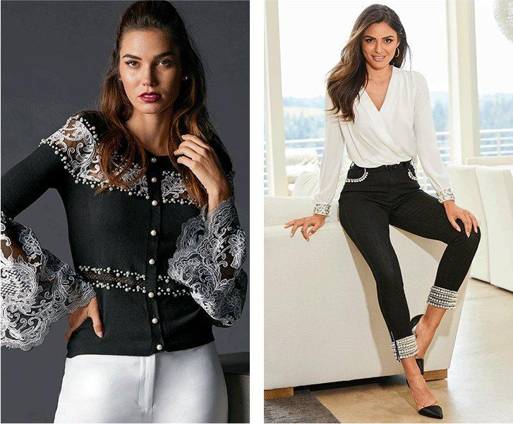 left model wearing a black pearl and lace embellished button up cardigan and white pants. right model wearing a white surplice long-sleeve pearl cuff top, black pearl embellished jeans, and black vinyl heels.