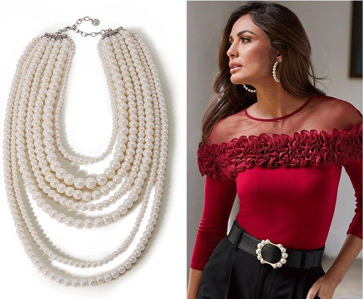 left panel: layered pearl necklace. right panel: model wearing a red illusion ruffle long sleeve top, black pants, pearl hoop earrings, and black belt with pearl embellishments.