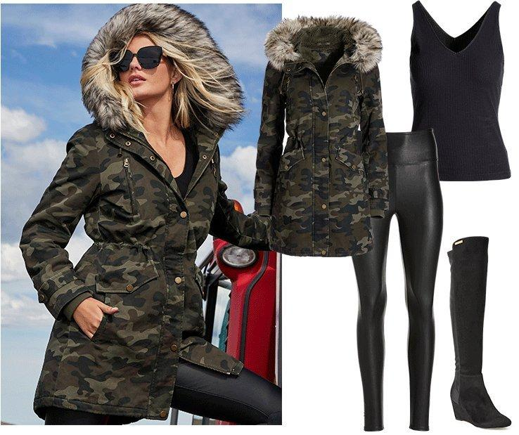 model wearing a camouflage faux fur coat, black faux leather leggings, black ribbed tank top, over-the-knee black boots, and sunglasses. right panel shows all items individually.