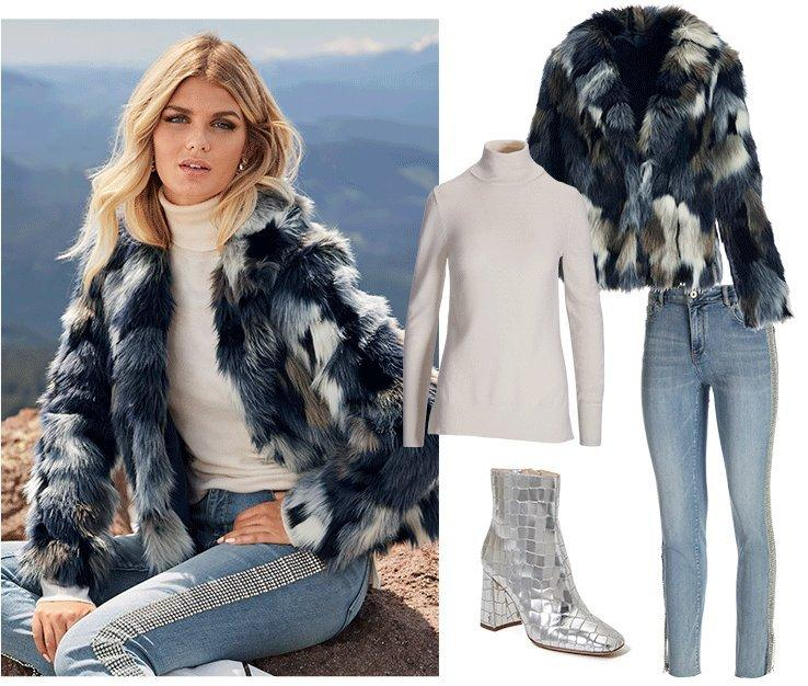 model wearing a blue faux fur jacket, white turtleneck sweater, rhinestone embellished jeans, and silver heeled booties. right panel shows all items individually.