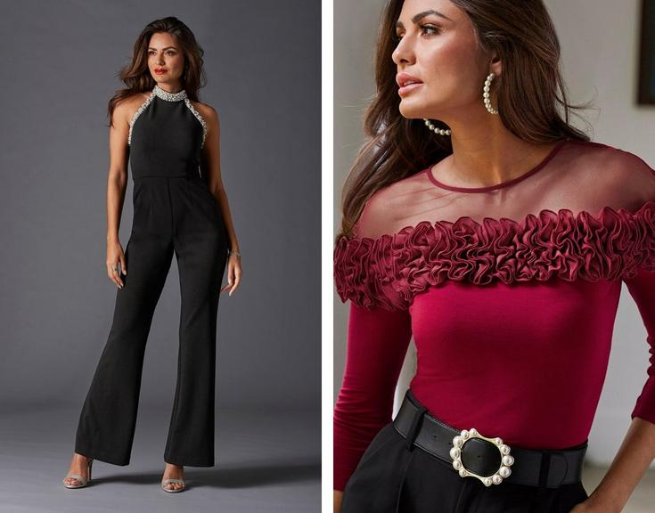 left model wearing a black jumpsuit with pearl embellishments. right model wearing a red ruffle illusion top, black belt with pearl embellishments, black pants, and hoop earrings.
