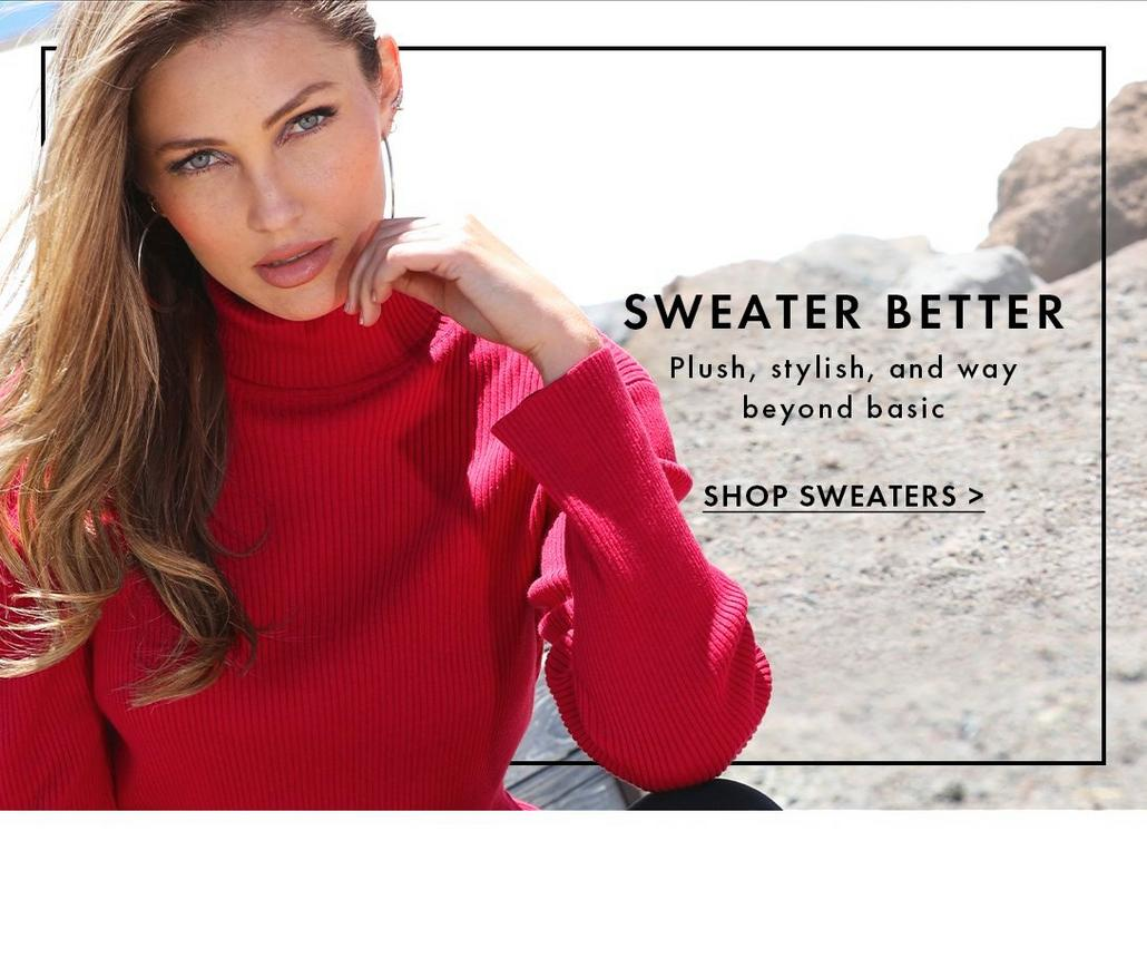 model wearing a red turtleneck ribbed sweater. text: sweater better. plush, stylish, and way beyond basic .shop sweaters.