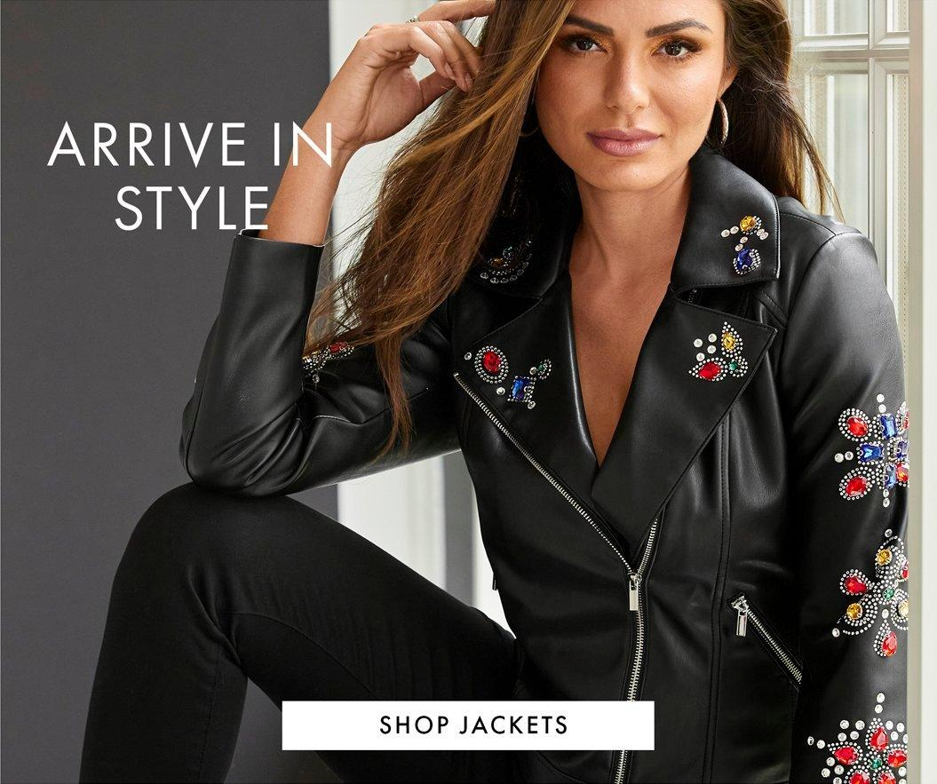model wearing a black leather jeweled jacket and black pants. text: arrive in style.