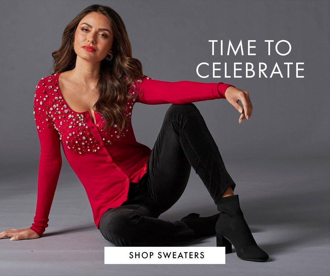model wearing a red jeweled cardigan, black velvet pants, and black heeled booties. text: time to celebrate.