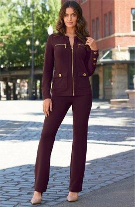 model wearing a deep purple two-piece set.