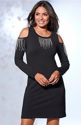 model wearing a black cold-shoulder long-sleeve rhinestone fringe dress.