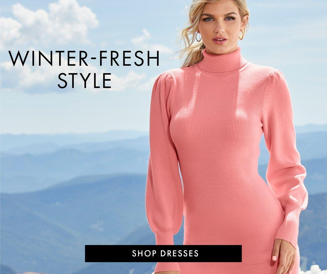 model wearing a pink balloon sleeve turtleneck sweater dress and small hoop earrings. left text: winter-fresh style.