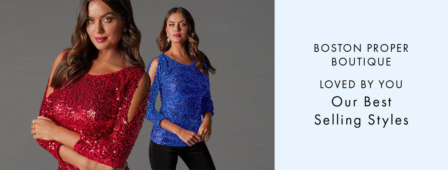 left model wearing a red sequin cold-shoulder long-sleeve top. right model wearing a blue sequin cold-shoulder long-sleeve top. right text: boston proper boutique. loved by you. our best selling styles.