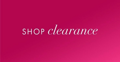 white text on pink background: shop clearance