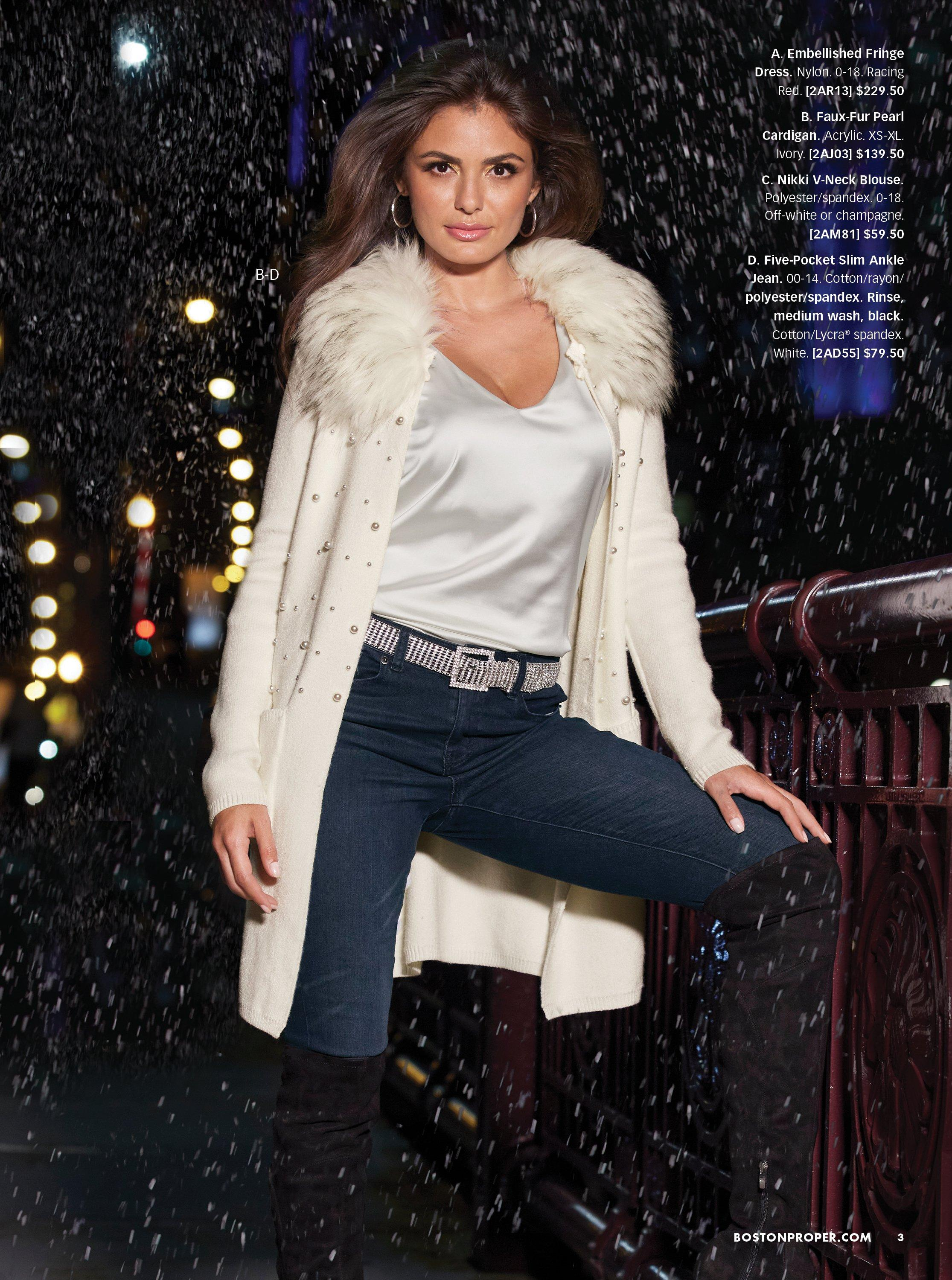 model wearing a white embellished faux fur cardigan, white charm tank top, silver rhinestone belt, jeans, and black over-the-knee boots.