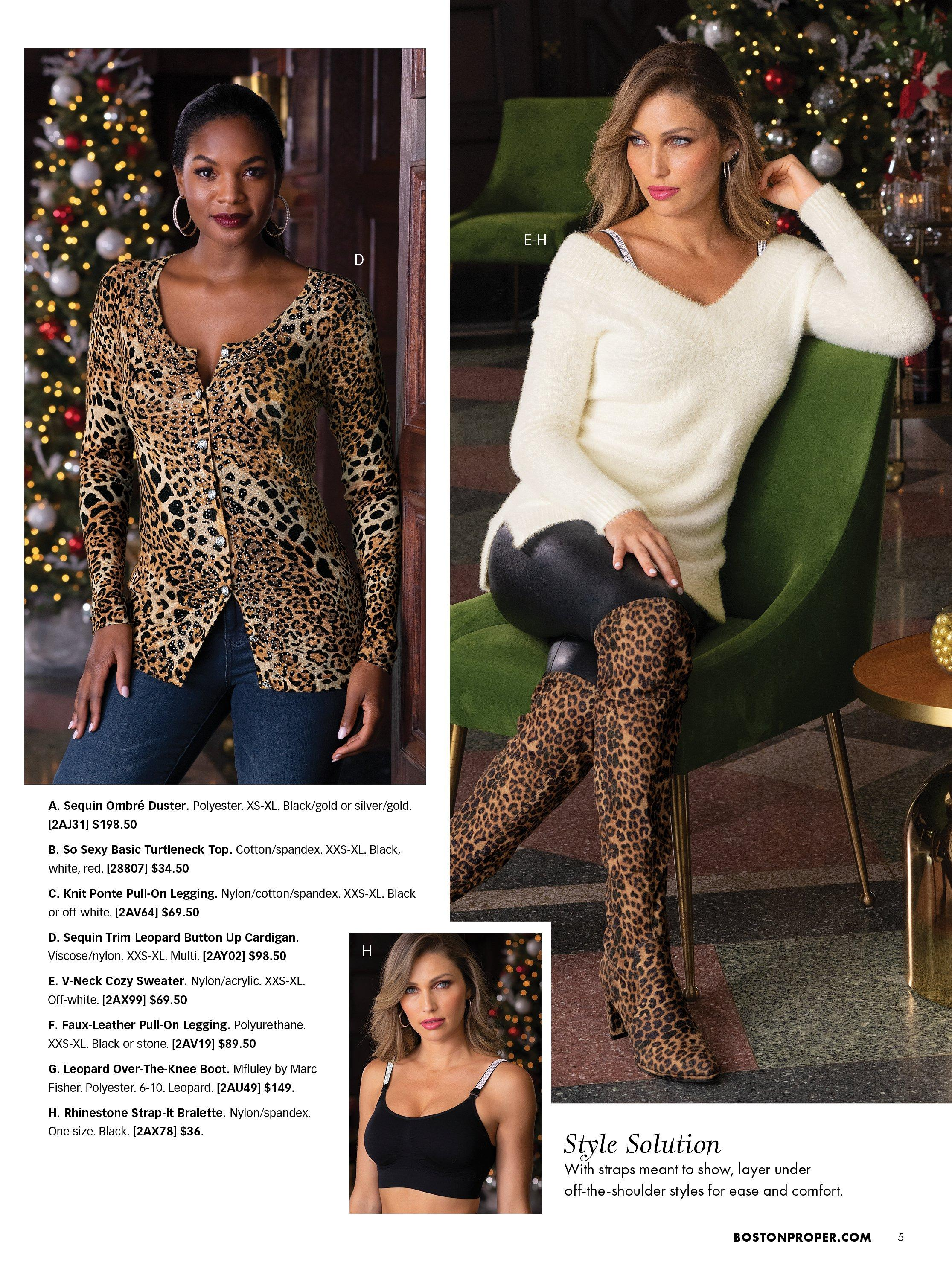 left model wearing an embellished leopard print button up cardigan and jeans. right model wearing a white v-neck sweater, black faux leather leggings, and leopard print over-the-knee boots. bottom model wearing a black bralette with rhinestone embellished straps.