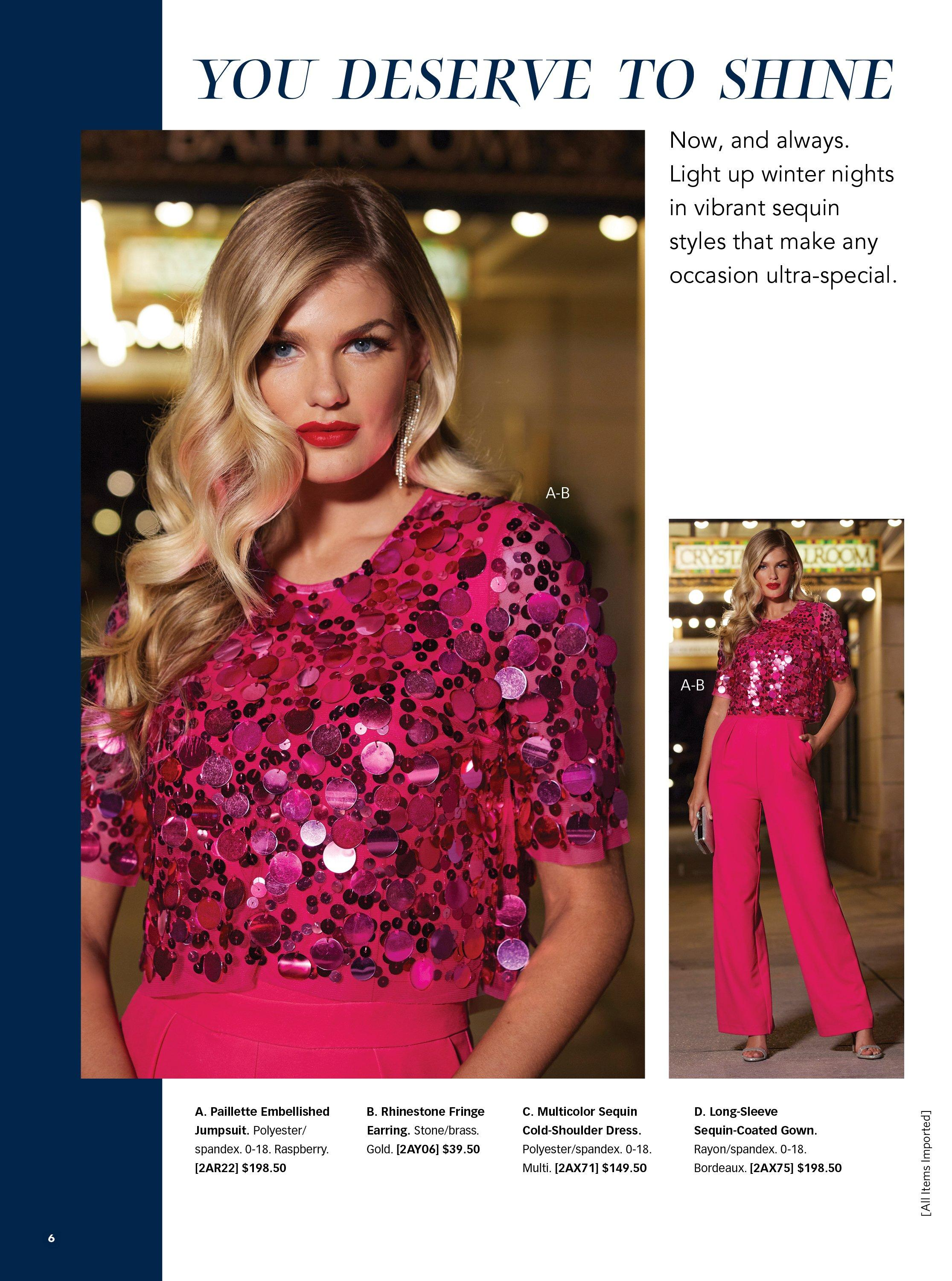 model wearing a pink short sleeve jumpsuit with large sequins at the top.