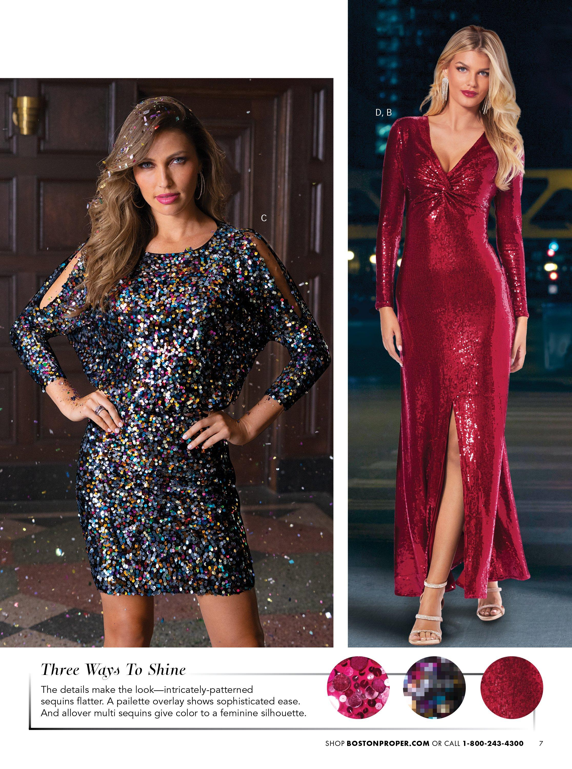 left model wearing a multicolored sequin long-sleeve cold-shoulder dress. right model wearing a red sequin gown with a slit and silver strappy heels.