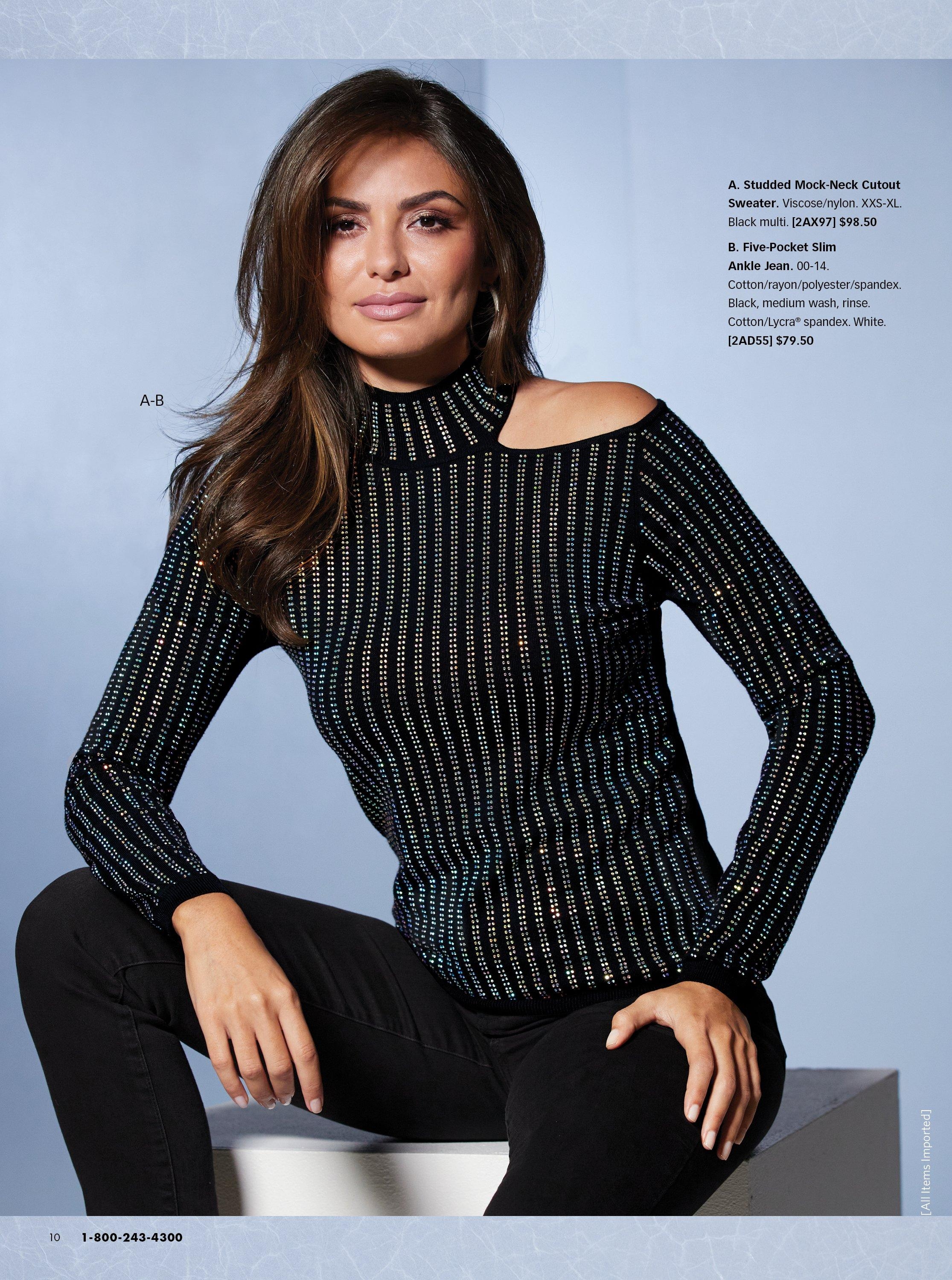 model wearing a black studded mock-neck cold-shoulder long sleeve top and black pants.