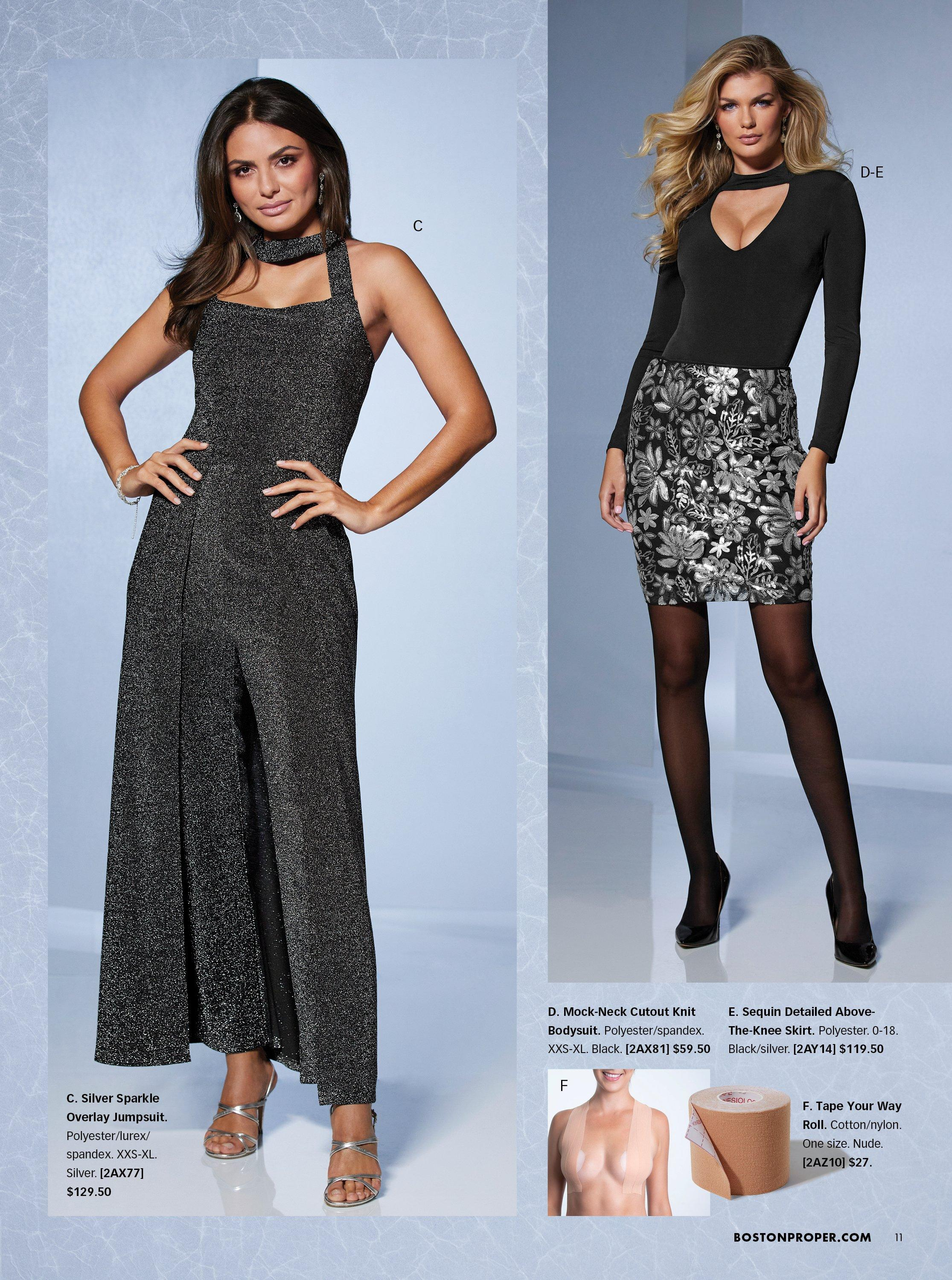 left model wearing a black shimmer choker-neck jumpsuit and silver strappy heels. right model wearing a black mock-neck long sleeve body suit, black skirt with silver sequin flowers, sheer tights, and black heeled mule shoes. bottom panel shows body tape for tricky necklines.