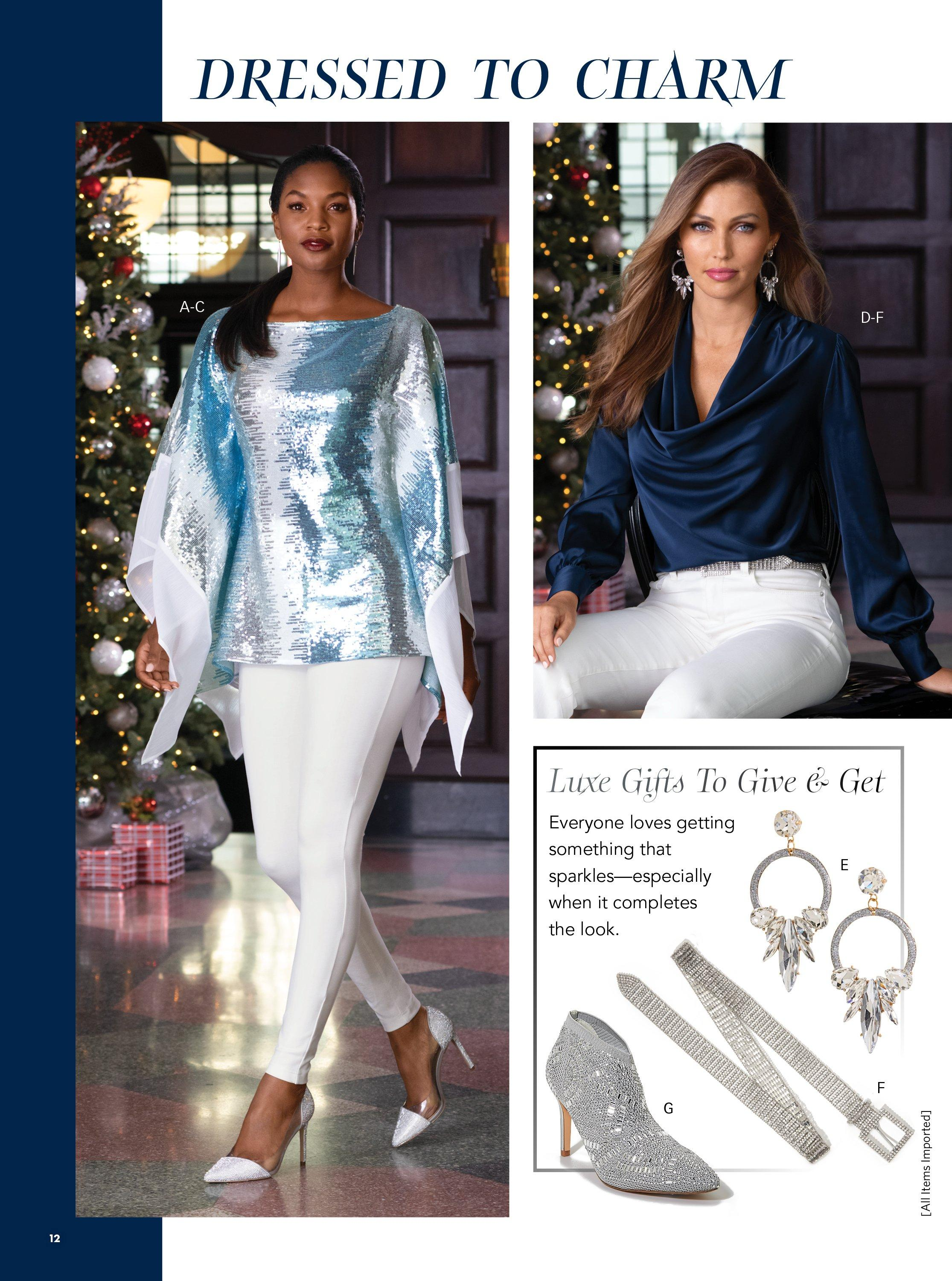 left model wearing a blue sequin poncho, white jeans, and rhinestone embellished vinyl heels. right model wearing a navy cowl neck long-sleeve charm blouse, white jeans, crystal drop hoop earrings, and a silver rhinestone belt. pull out image of silver rhinestone booties, silver rhinestone belt, silver crystal drop hoop earrings.