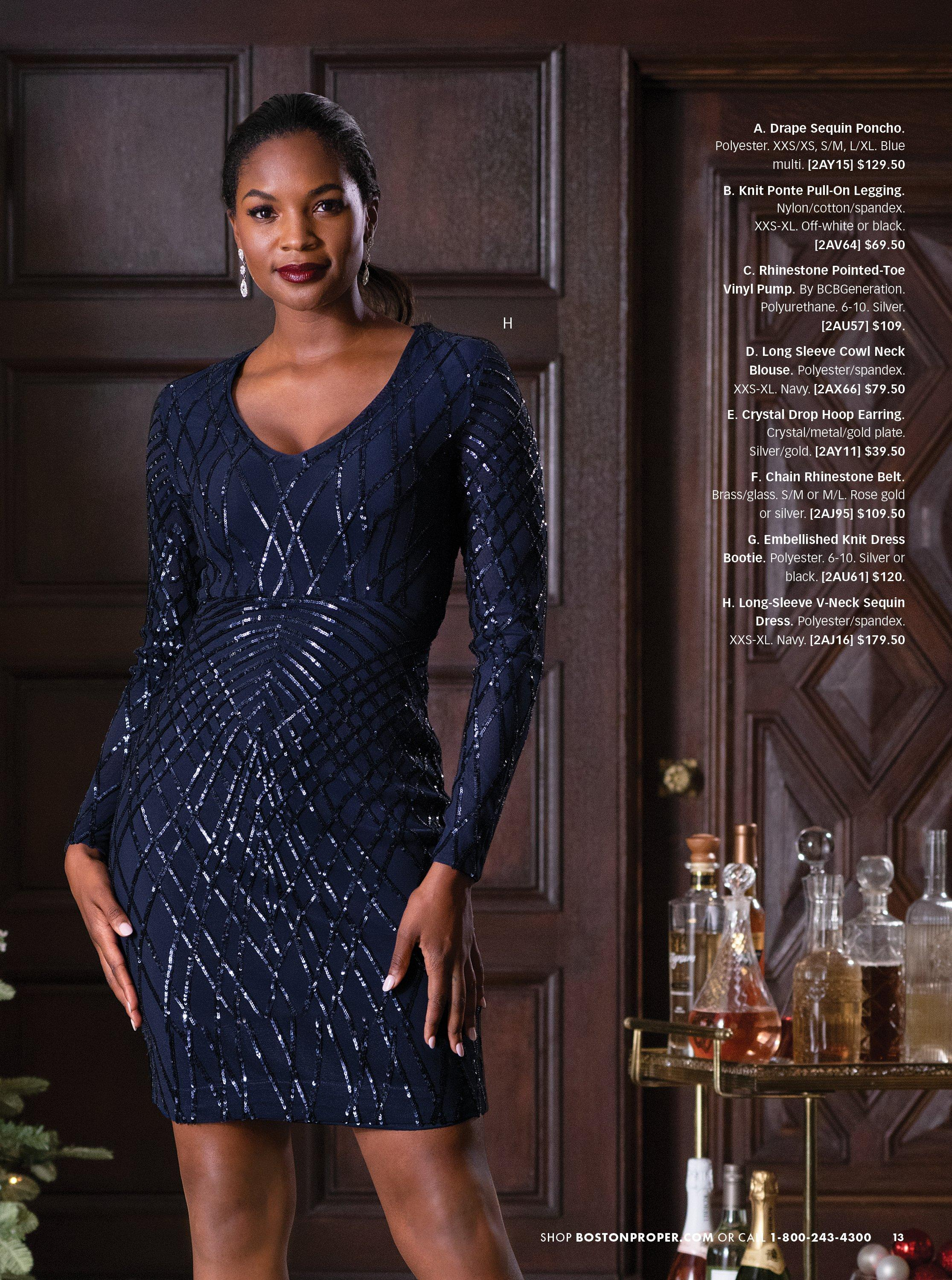 model wearing a navy sequin long-sleeve dress.