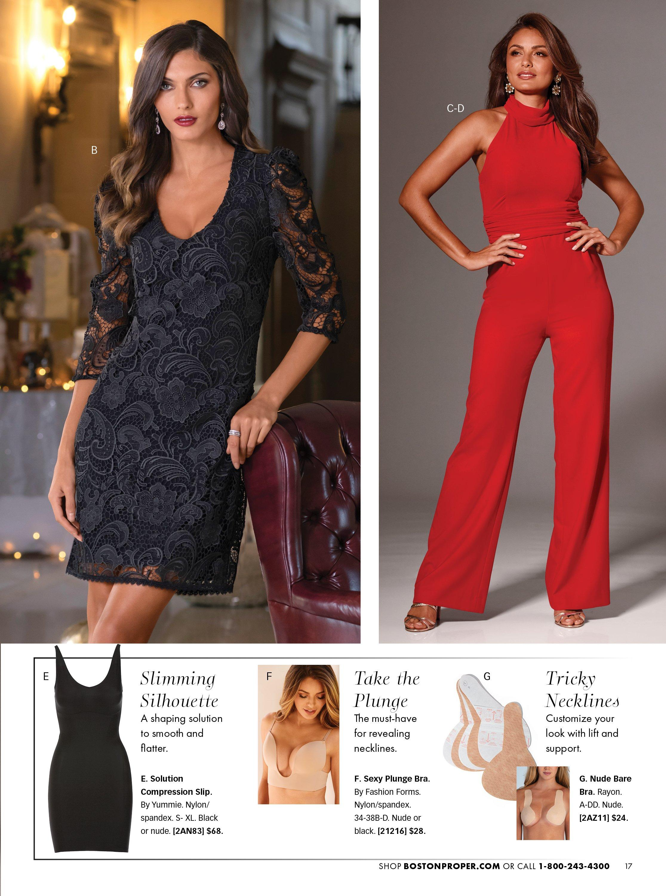 left model wearing a black lace puff-sleeve dress. right model wearing a red mock-neck jumpsuit, gold strappy heels, and gold and silver dangle earrings. bottom panel showing different shapewears and solution undergarments.