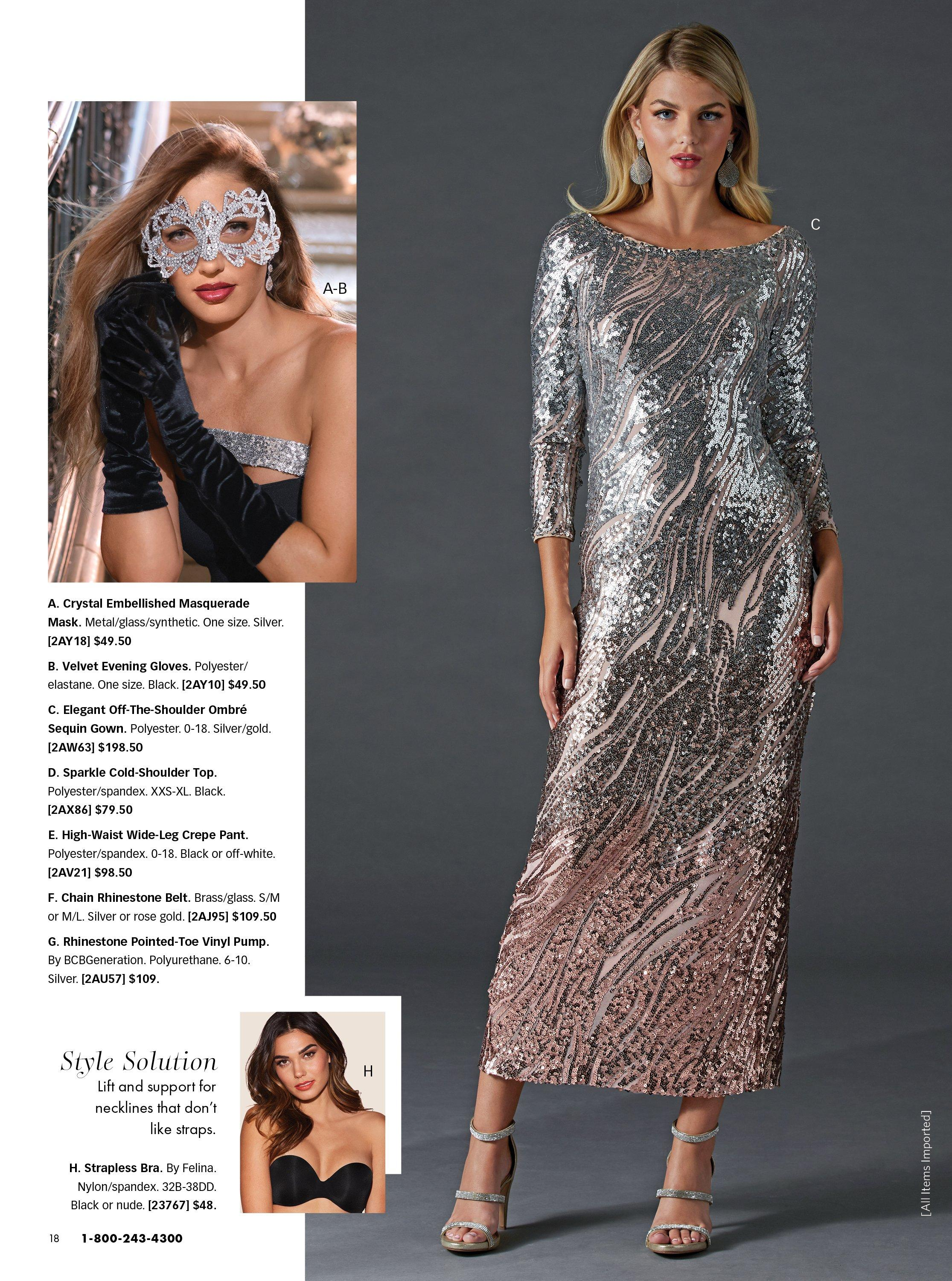 left model wearing a rhinestone masquerade mask and black velvet gloves. right model wearing an off-the-shoulder sequin embellished silver gown.