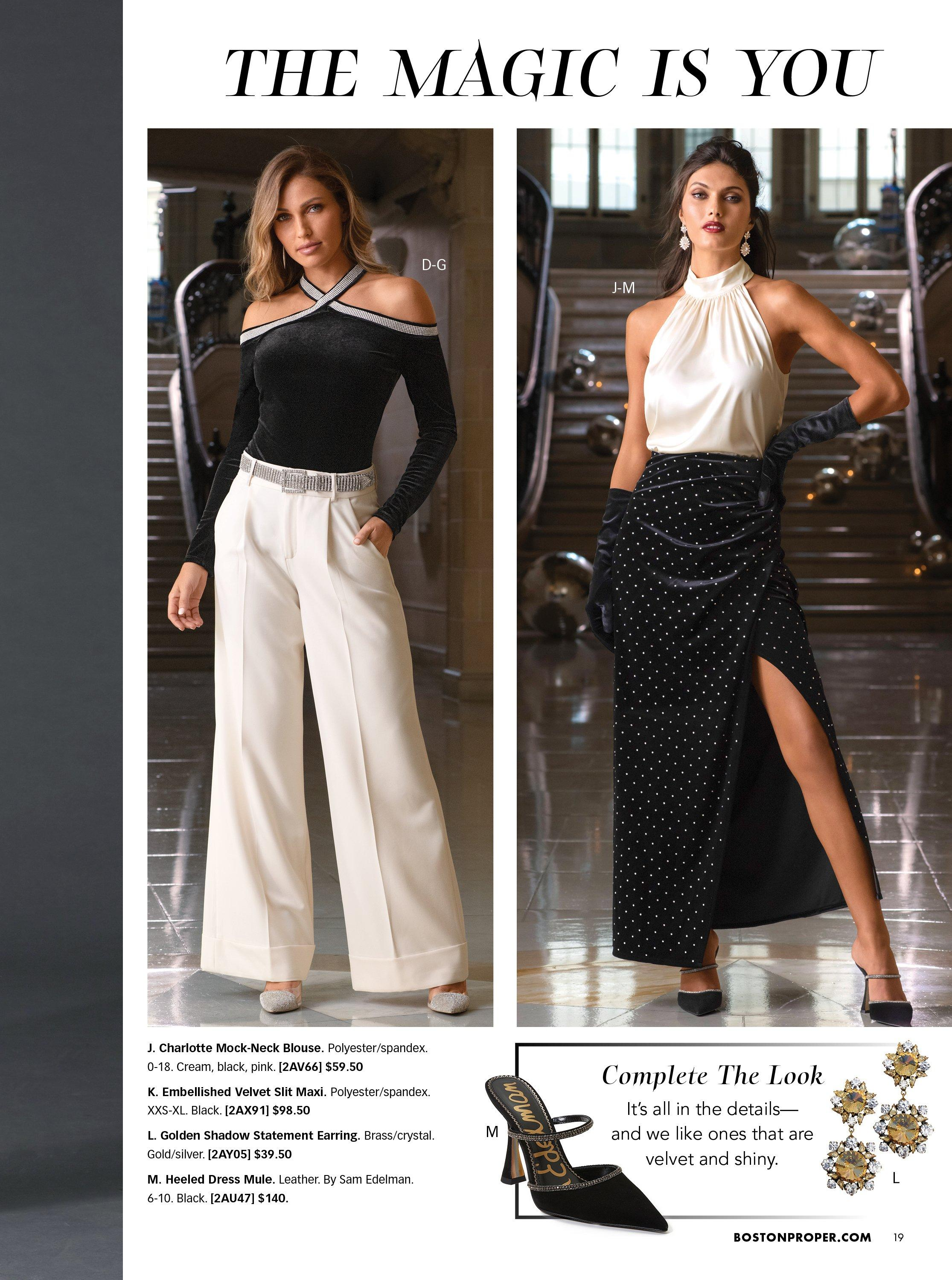 left model wearing a black crisscross off-the-shoulder top with rhinestones, a rhinestone belt, silver rhinestone vinyl heels, and white high-waisted wide leg pants. left model wearing a white mock-neck sleeveless top, a black studded slit skirt, and black heels. bottom panel shoes black embellished heels and gold and silver dangle earrings.