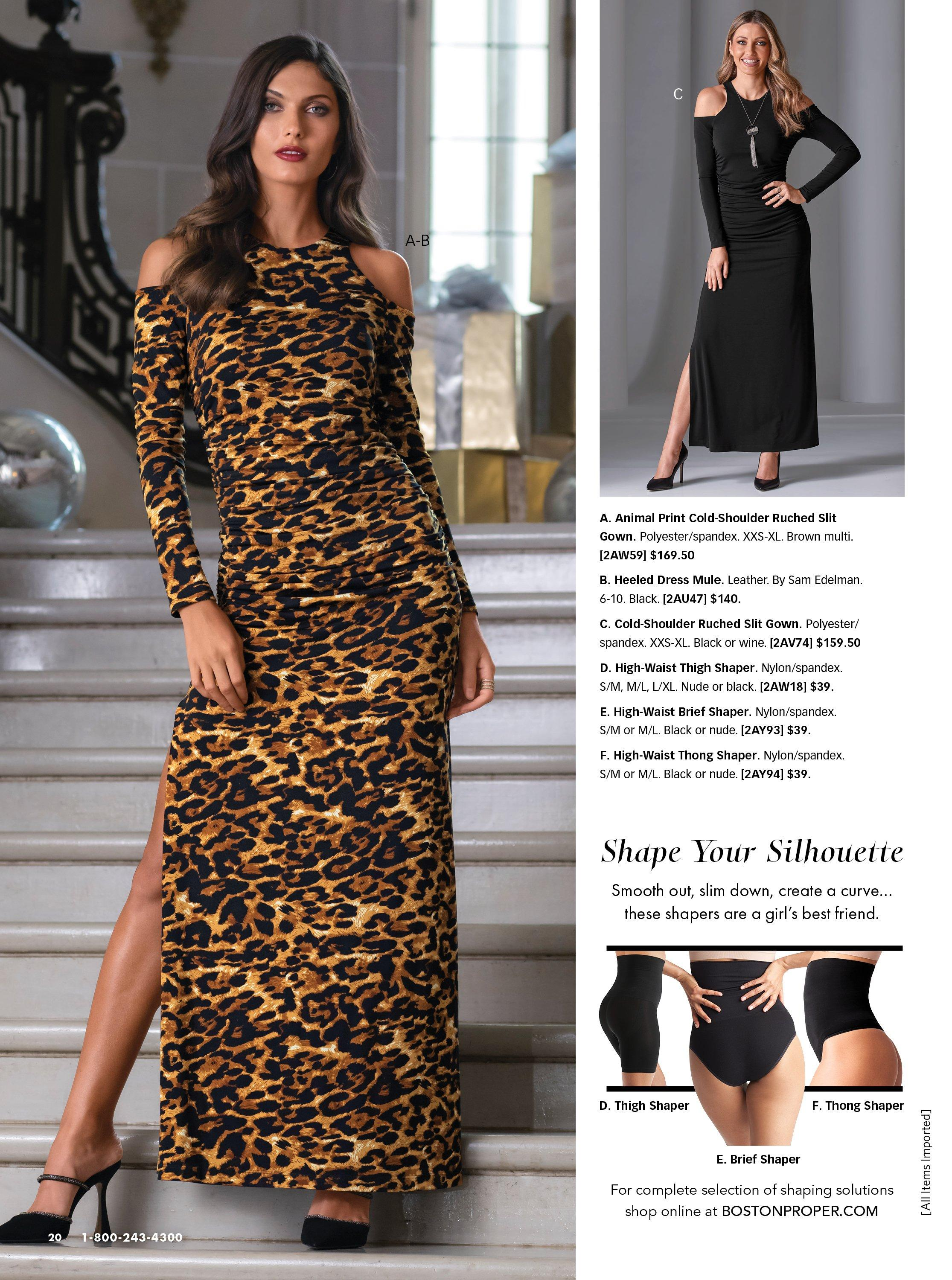 left model wearing a long-sleeve cold-shoulder leopard print gown and black heeled mule shoes. top right model wearing a black long-sleeve cold-shoulder gown and black heels. bottom right panel shows three options of shapewear in black.