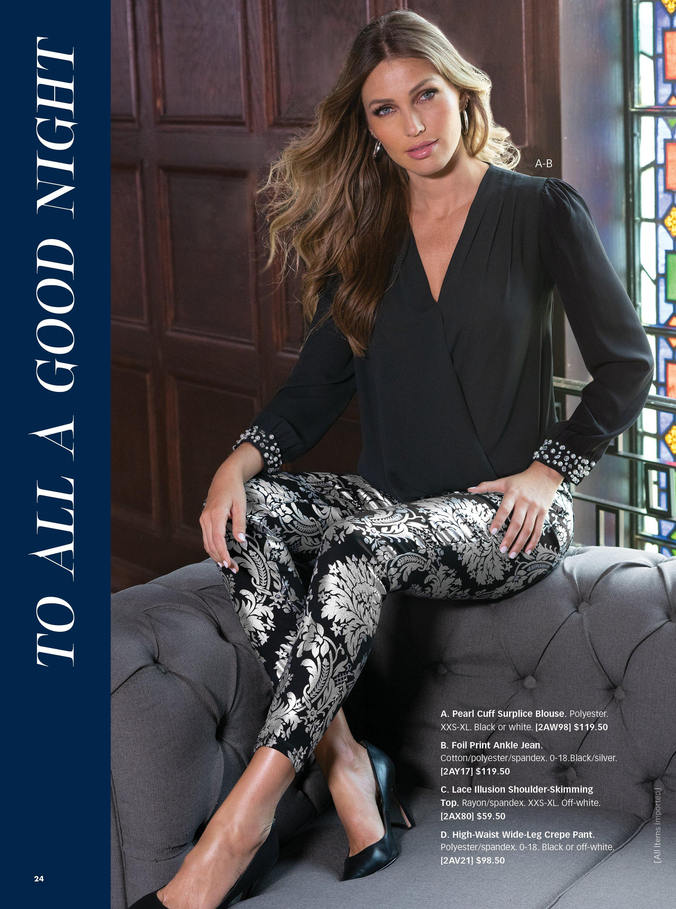 model wearing a black surplice top with embellished cuffs, silver and black foil printed jeans, and black pumps.