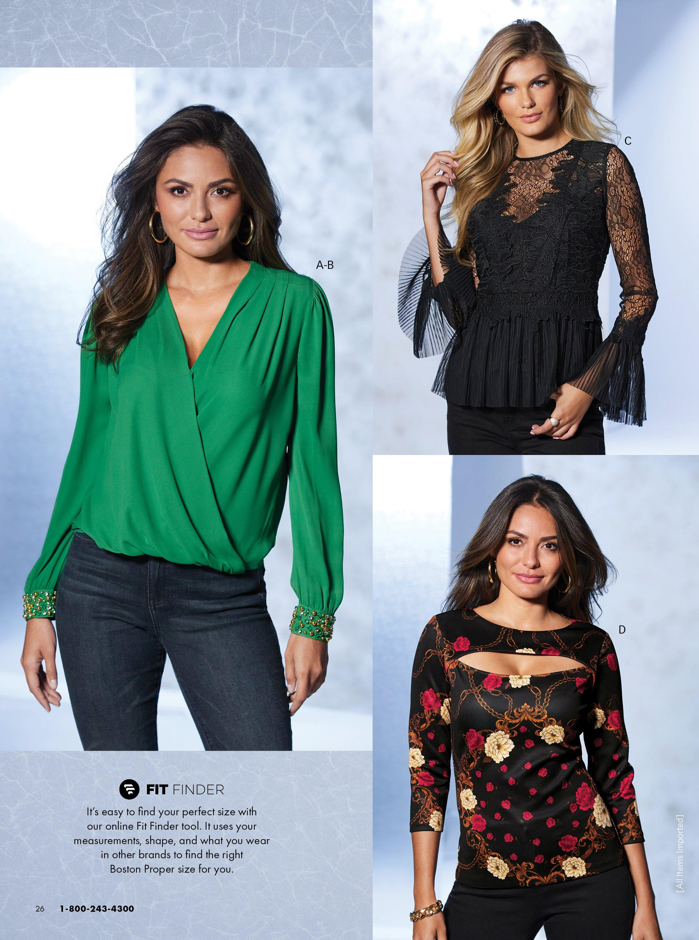 left model wearing a green surplice top with jeweled cuffs and jeans. top right model wearing a black lace peplum flare sleeve top. bottom right model wearing a black and red floral cutout long-sleeve top.