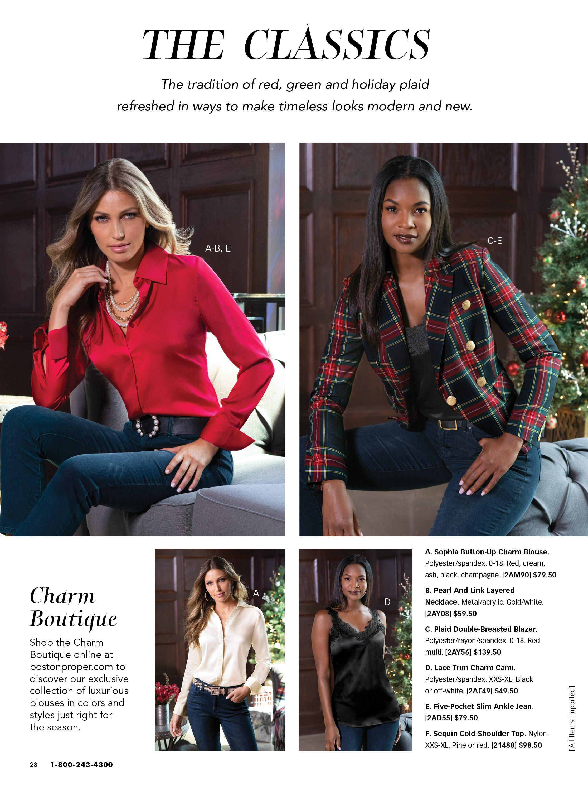 top left model wearing a red button-up blouse, black pearl embellished belt, pearl and gold chain layered necklace, and jeans. top right model wearing a red and green plaid blazer, black lace tank top, and jeans. bottom left model wearing a white button down blouse, rhinestone belt, and jeans. bottom right model wearing a black lace tank top and jeans.