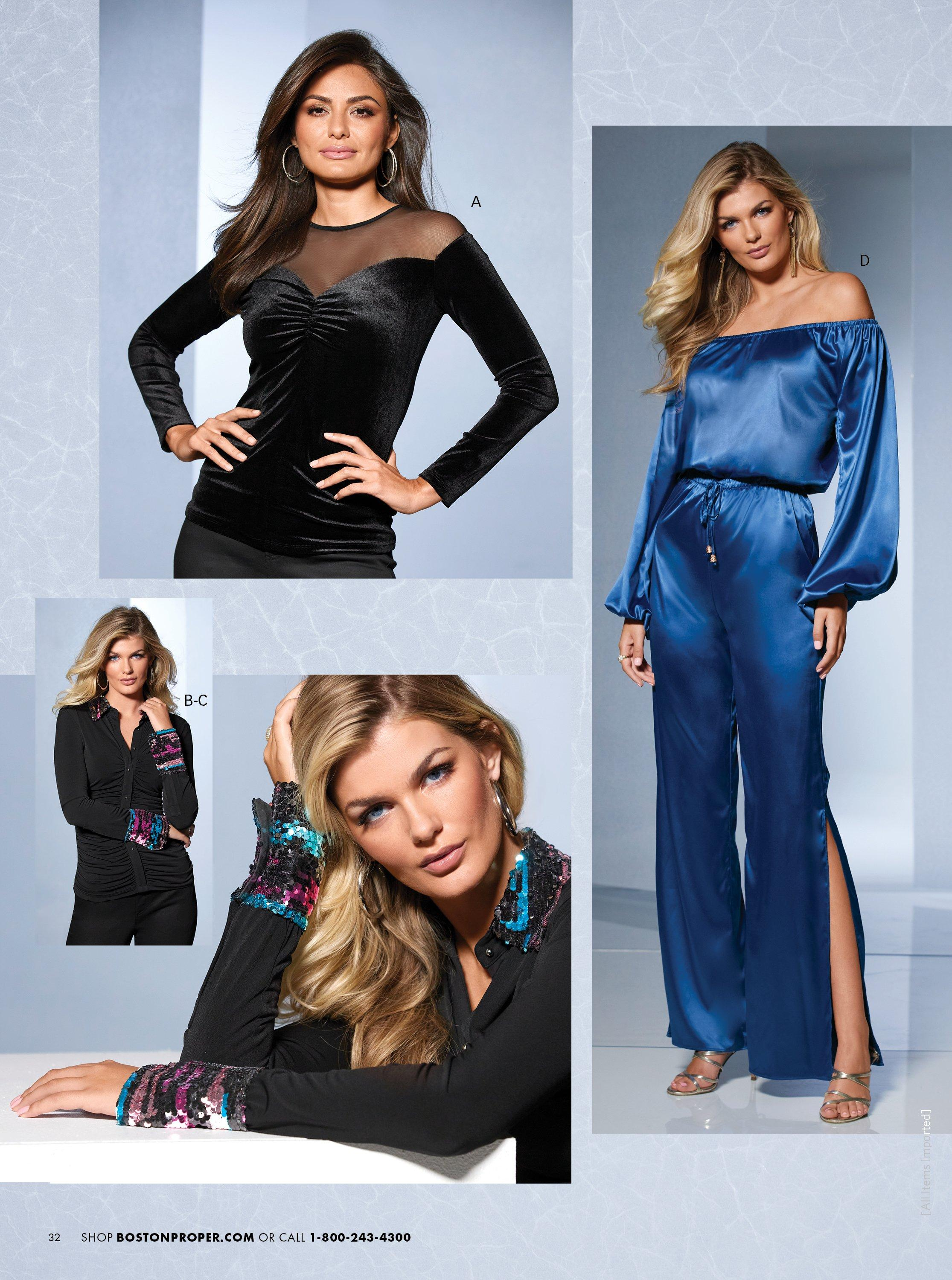 top left model wearing a lack velvet sweetheart top. bottom left model wearing a black long-sleeve top with rainbow sequin embellished cuffs and collar and silver hoop earrings. right model wearing a blue off-the-shoulder charm jumpsuit.