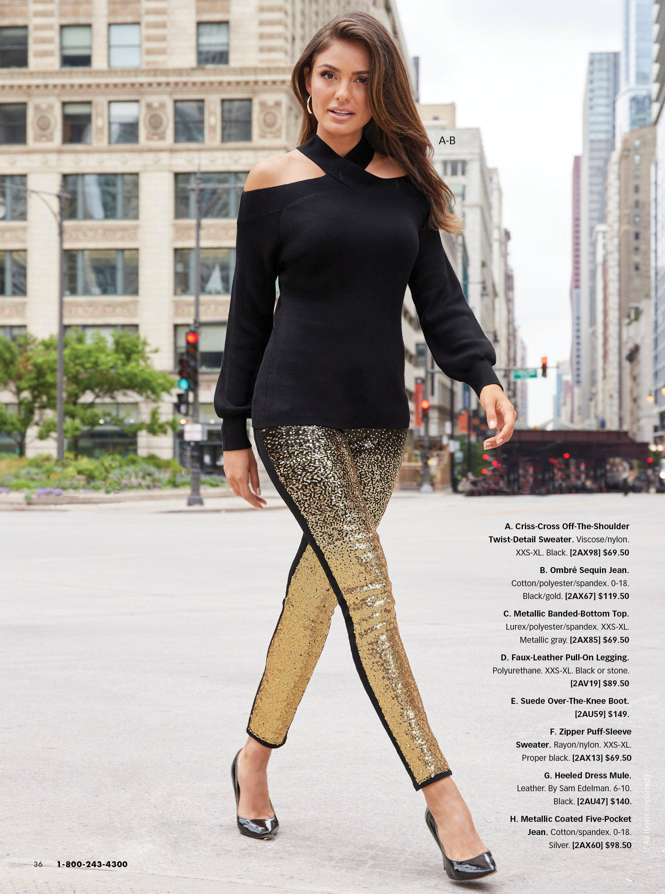 model wearing a black crisscross off-the-shoulder black sweater, black and gold ombre sequin jeans, and black pumps.